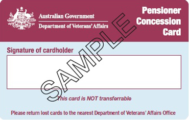 Veterans Affairs Pensioner Concession Card